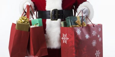 Santa Carrying Shopping Bags